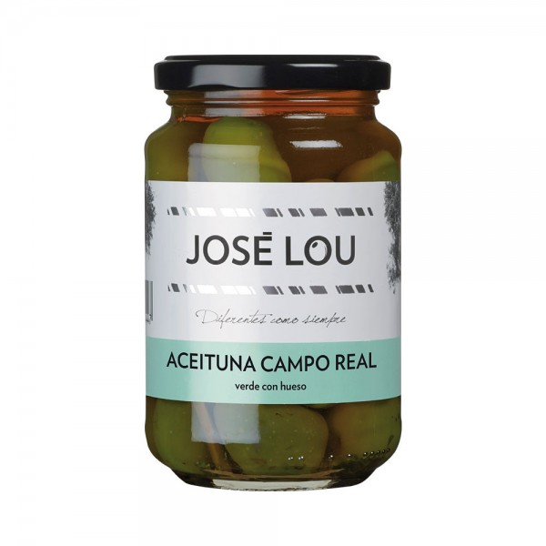 Jose Lou Aceituna Verde Campo Real con Hueso - Grüne Oliven der Sorte Campo Real mit Kern (335g)